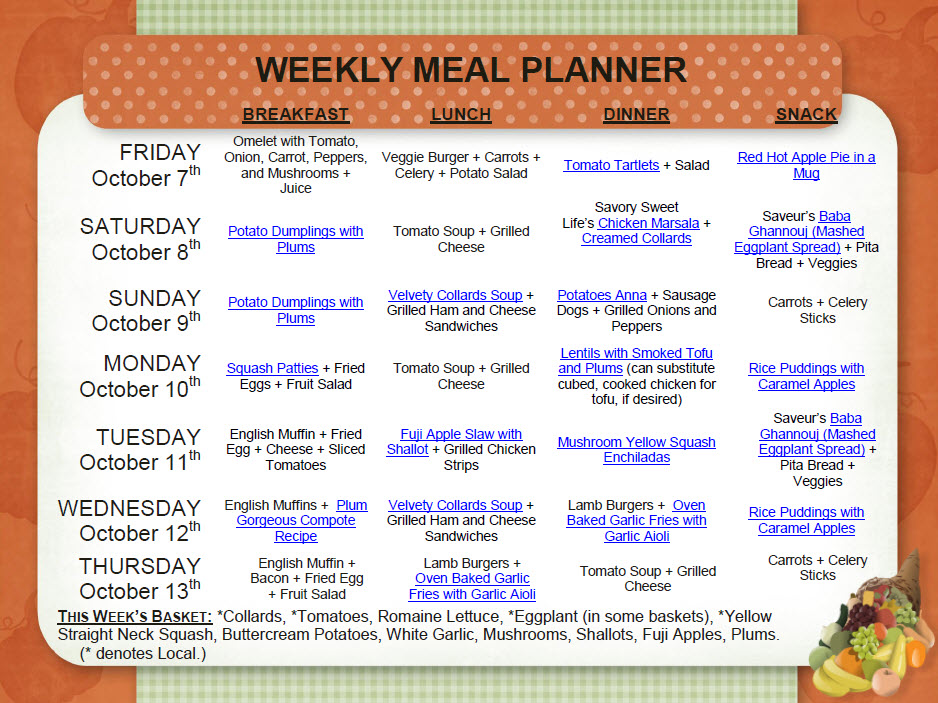 to the recipes, click here: Weekly Meal Planner – October 713