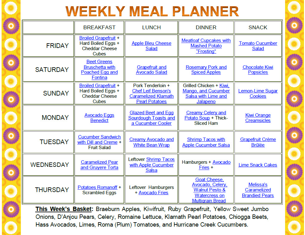 Family Weekly Meal Planner  CityEsporaCo