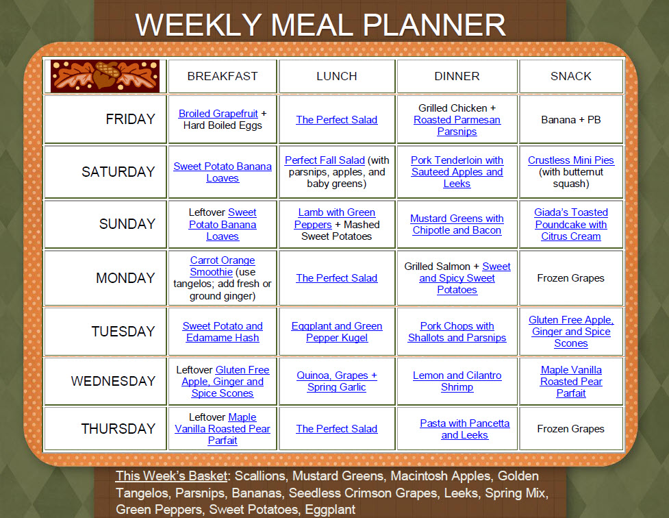 BFL Sample Weekly Meal Plan  Body for Life